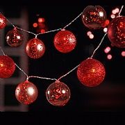 10 Red LED Battery Operated Bauble String Lights
