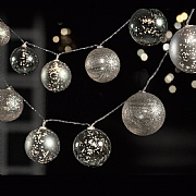 10 Silver LED Battery Operated Bauble String Lights