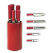 Chillipepper 5 Piece Stainless Steel Knife Set & Block