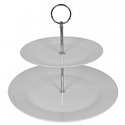 2 Tier White Porcelain Cake Stand - 19x27cm