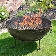 Recycled Kadai Firebowl Set with Low Stand 80cm