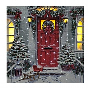 Xmas Door LED Canvas 40x40cm