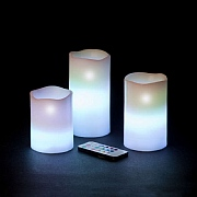 Set of 3 Remote Controlled LED Candles