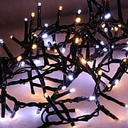 1000 Cool White & Warm White LED Compact Christmas Lights (Green Cable)