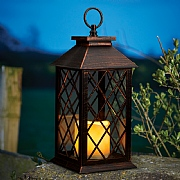 Lydia Bronze Battery Operated Candle Lantern