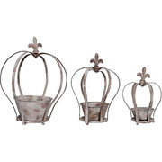 Aged Metal Crown Planter - 3 Sizes Available