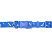 Ancol Blue Paw 'n' Bone Reflective Adjustable Collar - Various Sizes