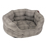 Zoon Grey Plaid Oval Bed (Various Sizes Available)