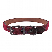 Joules Red Tweed Leather Collar - Various Sizes