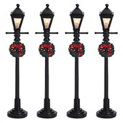Lemax Gas Lantern Street Lamps - Set of 4