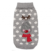 Zoon Grey Polka Rudolph Dog Jumper (Various Sizes Available)