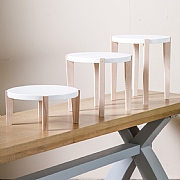 Scandi Plant Table White & Beech - Various Sizes