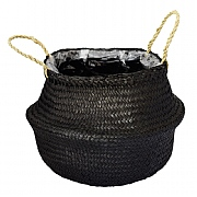 Ivyline Seagrass Black Lined Basket Planter (Various Sizes)