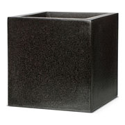 Capi Lux Lightweight Black Square Planter