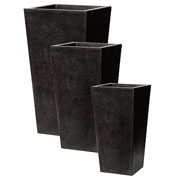 Capi Lux Lightweight Black Tapered Planters